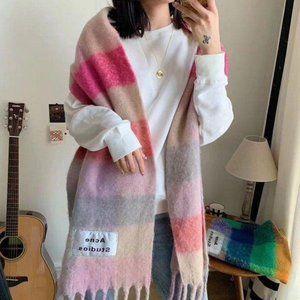 Acne studios wool scarf in rainbow colors